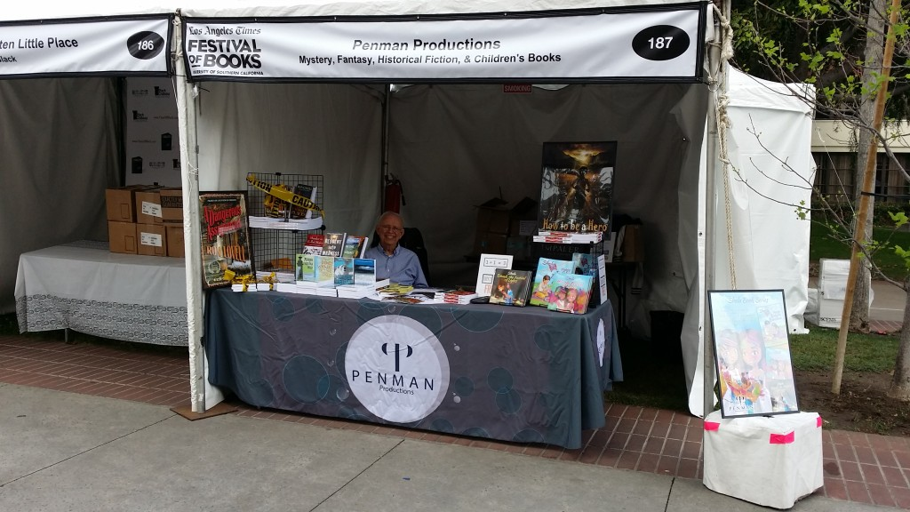 Ron Lovell takes a break in the Penman Productions Booth at the LA Festival of Books